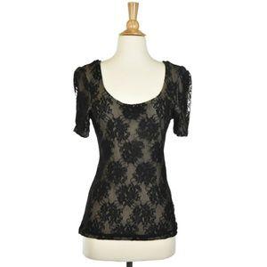 H&M Black Lace Short Sleeve Blouse